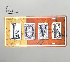 dl love license plate vintage metal sign home decoration