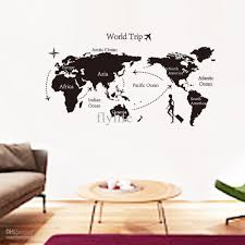 Large Black World Map Wall Decals And Decor Stickers For Living Room And  Home Decoration, ...