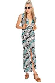 Womens Clothing Maxi Dresses Orange Shimmer Printed Cinched Maxi