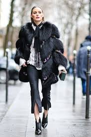 Olivia Palermo wears a black fur coat outside the Giambattista Valli show  during Paris Fashion Week Womens… | Cool street fashion, Paris fashion  week, Paris fashion