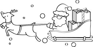 そりに乗るクリスマスかわいい白黒無料イラスト57782 素材good