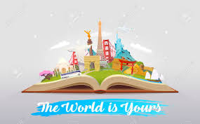 travel to world road trip tourism open book with landmarks travelling vector