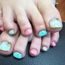 春夏海フットシンプル Nail At Maileのネイルデザインno3041856