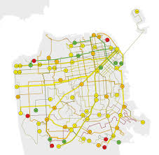 finding the slow buses san francisco public press Map Bus Route San Francisco guide to the map % on time performance green 80% or better yellow 70% 80% orange 60% 70% red 60% or worse the thicker the line, the higher the san francisco muni bus route map
