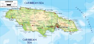 physical map of jamaica  ezilon maps