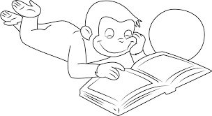 the curious george reading book coloring pages to view printable