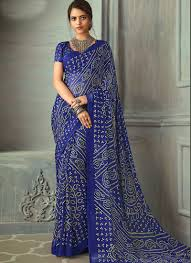 Blue Color Saree Blouse Designs Peppy Royal Blue Color Chiffon Fabric Bandhani Saree