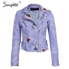 embroidery jacket fl faux leather jacket white basic jackets outerwear coats women casual autumn winter female coat
