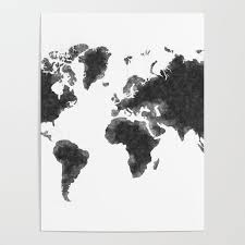 World Map Posters World Map Black Sketch Map Of The World Wall Art Poster Wall Decal Earth Atlas Geography Map Poster By Radub85