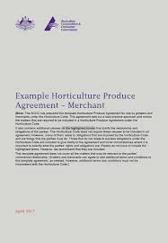 Example Of An Agreement Example Horticulture Produce Agreement Merchant Accc