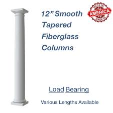 12 round smooth tapered fiberglass columns