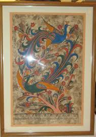 Vintage Mexican Framed Amate Bark Painting - Bird of Paradise by ...