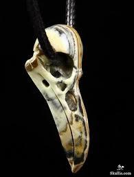 eastern jasper crystal raven skull pendant