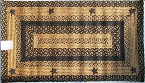 primitive country area rugs lovely ihf applique star black tan braided jute rug rustic