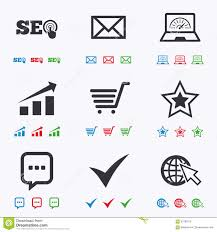 Internet Seo Icons Star Shopping Signs Stock Vector