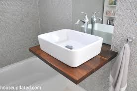 floating vessel sink shelf vanity gray penny tile ...