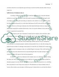 abstinence only sex education essay example topics and well related essays