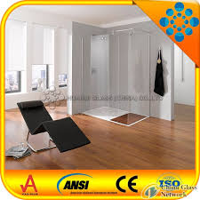 high quality 8mm tempered shower door glass with straight polished edges and cut outs