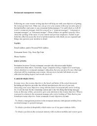 Restaurant Resume Objectives Career Objective Resume Whats Good