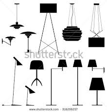 floor lamp clipart black and white. set of different lamps. black silhouette floor lamps, table lamps and sconce. lamp clipart white