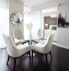 cool mirrors for dining room with round glass table top and crystal ceiling lights above dining table