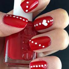 heart and dots cute Red And White Nail Art Designs