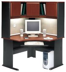 desk bush series a 48 corner computer desk with hutch in hansen cherry transitional desks