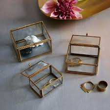 glass shadow box and metal nesting trinket boxes large frame