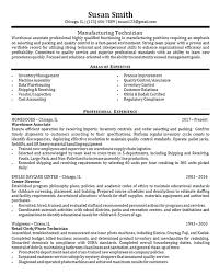 manufacturing resume sample manufacturing technician example