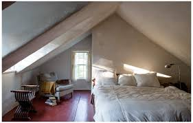 Majestic Attic Loft Bedroom Ideas With White Fabric Comfy Comforter  Covering Full Size Bed As Well As Sloped White Plafond And Single Windows  Ideas