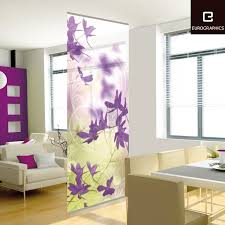Open Kitchen Partition Rummy Fabric Room Divider Ikea Curtains With Floral Accent Panel