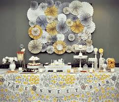 romantic yellow & gray vintage wedding paper rosette backdrop for Wedding Decorations Yellow And Gray romantic yellow & gray vintage wedding paper rosette backdrop for dessert table shower nursery wedding decorations yellow and gray