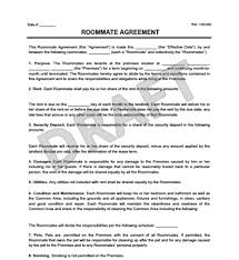 Sample Roommate Contract Roommate Agreement Contract Create Download A Free Template