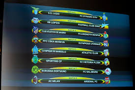 the match fixtures are displayed on an electronic panel following the draw of the uefa europa league 2017 18 round of 16 matches at the uefa headquarters in
