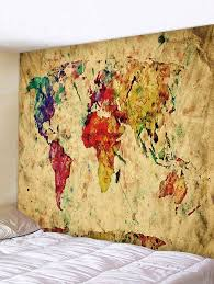 outfit colorful world map print tapestry wall hanging decor