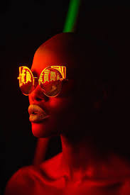 Neon Light Glasses Pop Portraits With Neon Light Reflected In Sunglasses