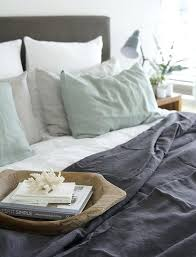 stonewashed in aqua and charcoal stone washed linen duvet cover