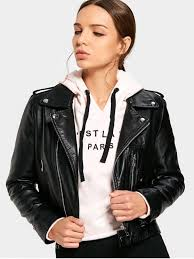 asymmetrical zipper faux leather jacket black s