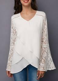 Panel Shirt Design Ladies White Lace Panel Asymmetric Hem Blouse Liligal Com Usd