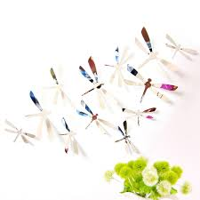 60 pcs home decoration originality pvc 3d mirror surface dragonfly wall paste