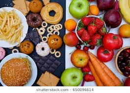 junk food vs healthy food. Delighful Food Concept Photo Of Healthy And Unhealthy Food Fruits Vegetables Vs  Donutssweets In Junk Food Vs Healthy