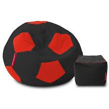 bean bag footstool combo isabella organic cotton khadi handloom football bean bag cover by urbanloom black and red