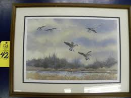 SIGNED AND NUMBER GEESE PAINTING BY DUANE BOYD WATERCOLOR GEESE IN FLIGHT I  | Online Auctions | Proxibid