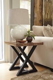 Mango Living Room Furniture Square End Table With Mango Wood Top Metal X Braced Base By