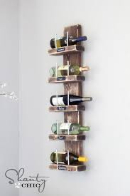 DIY Wood and Hex Bolt Wall Wine Rack. Really cute! You can put a