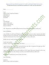 Cancellation Letter For Credit Card Auto Debit Instruction Sample
