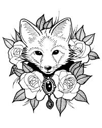 Cute Fox With Roses Foxes Adult Coloring Pages
