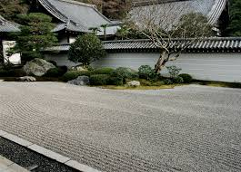 at nanzen ji kyoto straight waves are intersd with gently curving waves