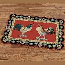 decorating appealing double rooster in kitchen rugs with red and black accent and circular edge