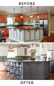 before and after photos of a kitchen that had it s cabinets painted white lots of